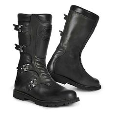 Vintage motorcycle boots STYLMARTIN Continental black made from leather. Boots with buckles. shop now at 24Helmets!