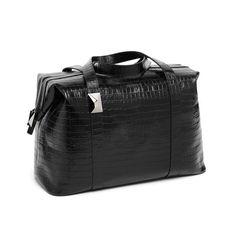 Bolso Watson en negro. Fabricado en piel grabada.