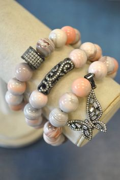 Barsly Bohemia Strand Bracelets for Women Gold//Silver Stainless Steel Butterfly Heart Zircon Beaded Bracelet Women Jewelry