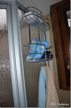 over the door shelf with clips to hold towels.  great for extra storage in rv