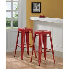 @Overstock.com - Tabouret 30-inch Red Metal Bar Stools (Set of 2) - A backless design is featured on this set of two bar stools. This stool set comes in a red color with a powder-coat finish.  http://www.overstock.com/Home-Garden/Tabouret-30-inch-Red-Metal-Bar-Stools-Set-of-2/5095631/product.html?CID=214117 $99.99