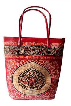 #Batik #India #Shantiniketan Real Leather Large Tote Ethnic Shopping Bag Handmade #Handmade #TotesShoppers