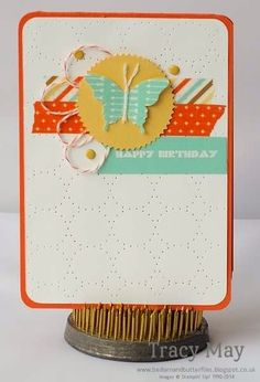 Stampin' Up! Independent Demonstrator Tracy May -Washi tape butterfly card.