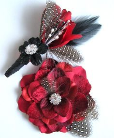 Rockabilly bridal set with red flower hair by ClarkandDiversey, $65.00