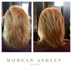 Before and after of a highlight, also using #olaplex to help strengthen the hair! By Wendy at Morgan Ashley Salon