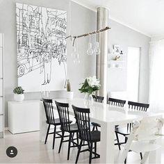 Bildresultat för taklampa björkstam Dining Area, Dining Chairs, Dining Table, Beautiful Interior Design, Marimekko, My Dream Home, Minimalism, House Design, Living Room