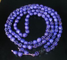Fashion Cool Turquoise 108 Purple Vein 10x12mm Skull Beads Necklace ZZ1021
