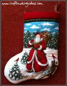Traditional Father Christmas outdoors with his sack of toys Quilted Christmas Stocking. A truly delightful design depicting a snowy Christmas with. Quilted Christmas Stockings, Red Colour, Father Christmas, Christmas Design, White Fabrics, Traditional, Quilts, 3d, Create