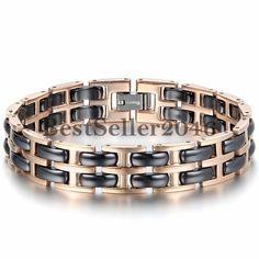 Charm Rose Gold Tone Stainless Steel Link Black Ceramic Men's Women's Bracelet #UnbrandedGeneric #Chain
