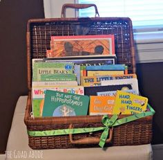 Basket of books. This is SUCH a great idea for a baby shower gift! the goad abode: a Boston shower for Baby G