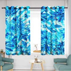 """Indoor/outdoor curtains Great for Living Rooms & Bedrooms W 63""""xL 63"""" Hand drawn watercolor seamless pattern Tropical leaves and exotic flowers Perfect for wedding invitations greeting cards blogs po"""