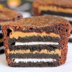 Peanut Butter and Oreo Stuffed Brownies #recipe