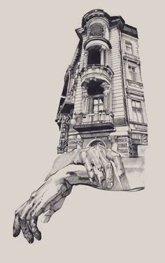 The artist from Odessa in Ukraine Dasha Pliska has created stunning illustrations mixing representations of hands and architectural structures.
