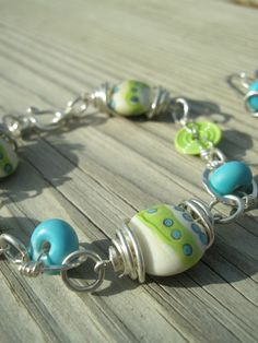 Fresh  SRA Lampwork and Sterling Silver Wirewrapped by juliethelen, $109.00