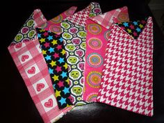 set of 5 burp cloths bright pink by mylittlebows on Etsy, $11.00