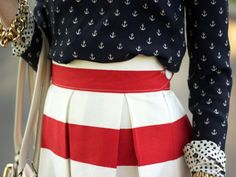 Patriotic outfit - red & white skirt, and blue (with anchors) top