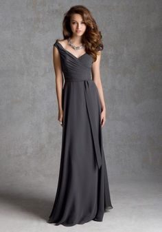 Luxe Chiffon with Sash over the Shoulder Bridesmaid Dress