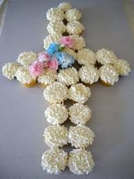 baptism cupcakes  just add pink flowers around instead of unicolors