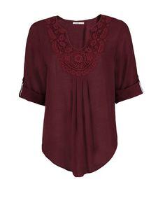 Roll Sleeve Crochet Blouse, Dark Berry