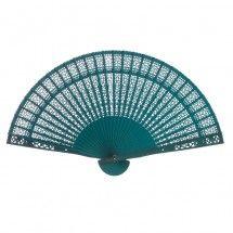 "13"" Sandalwood Fan Favors BULK - Turquoise (Koyal Wholesale)"
