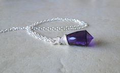 Multi Facted Amethyst Necklace Wire Wrapped On A by BeadsMe, $58.00
