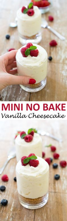 Individual No Bake Vanilla Cheesecake. A super easy no bake dessert that takes less than 15 minutes prep time and only 7 ingredients!