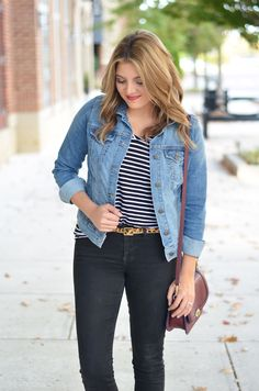 jean jacket outfit - striped tee with black jeans and leopard print belt | www.bylaurenm.com