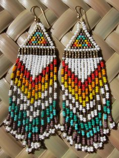 Native American white seed beaded rainbow por daughterofthesun