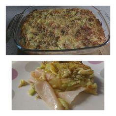 Pastel de verduras con pavo y queso