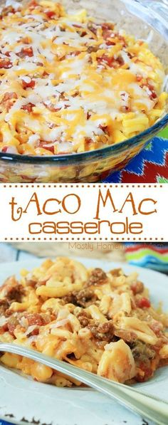 Taco Mac Casserole - a total family favorite dinner! Taco beef, a box of macaroni and cheese, salsa, and cheddar - this is one recipe you're going to make again and again! Mexican Food Recipes, New Recipes, Cooking Recipes, Favorite Recipes, Recipes Dinner, Cheese Recipes, Potato Recipes, Chicken Recipes, Kitchen