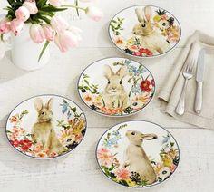 Floral Bunny Salad Plate