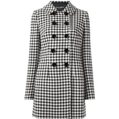Dolce & Gabbana houndstooth coat (46,105 MXN) ❤ liked on Polyvore featuring outerwear, coats, jackets, black, double-breasted coat, pattern coat, dolce gabbana coat, mid length coat and long sleeve coat