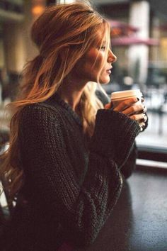 This is how I want to be everyday. Cozy with coffee in hand...and having perfect hair wouldn't hurt either. NF