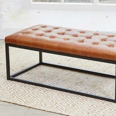 Vintage Leather Cocktail Ottoman (Home Delivery)
