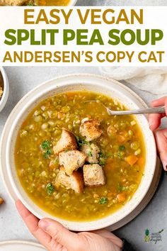 Learn how to make this easy split pea soup. Ready in under an hour, it's not only vegan, but also gluten-free, and delicious. Easy Split Pea Soup, Vegan Split Pea Soup, Split Pea Soup Recipe, Pea Recipes, Vegan Recipes Easy, Veggie Recipes, Soup Recipes, Detox Recipes, Copycat Recipes