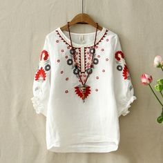 Ethnic Vintage White Floral Embroidered Blouses For Women Loose Half Lantern Sleeve Shirt Women Cotton Linen Top Casual Blusas Size One Size Color pink Vintage Summer Dresses, Summer Dresses For Women, Blouse Vintage, Vintage Tops, Vintage Floral, Dress Vintage, Mexican Shirts For Women, Moda Indiana, Embroidered Blouse
