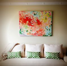 Michelle Armas painting and those gorgeous green pillows.