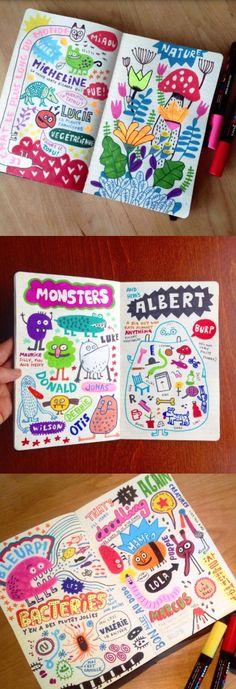 Elise Gravel illustration • My sketchbook • doodles • art • journal • drawing • Posca • marker • fun • Sharpie