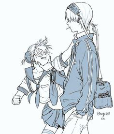 Okita Sougo х Kagura Anime Couples Manga, Cute Anime Couples, Manga Anime, Anime Art, Anime Character Drawing, Character Illustration, Gintama, Comedy Anime, Okikagu
