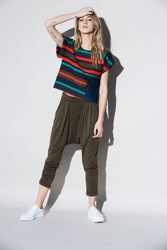 Automne | hiver 16.17 – eve gravel striped top with pocket and sarouel kaki pants Kaki Pants, Harem Pants, Buy Local, Eve, Stuff To Buy, Pocket, Collection, Tops, Fashion