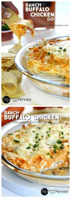 Ranch Buffalo Chicken Dip is the perfect party recipe! Ranch Buffalo Chicken Dip is the perfect party recipe! Creamy cheesy & spicy we love serve this with warm chips or celery sticks! (If youre a bleu cheese fan you can certainly sub it in)! Chicken Dips, Chicken Recipes, Shredded Chicken, Chicken Ranch Dip Recipe, Buff Chicken Dip, Buffalo Ranch Chicken Dip, Buffalo Dip, Ranch Recipe, Yummy Appetizers