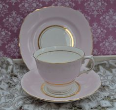 Colclough Tea Trio - Tea Cup, Saucer, Tea Plate, Vintage English Bone China, Pale Pink and Gilt, Good Condition by ImagineHowCharming on Etsy