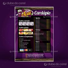 Acai Menu Template Ready to Edit and Print in CorelDRAW (CDR). Template for Acai, Ice Cream Shop with Photos of Acai. Open Editable in C . Logo Açaí, Açai Delivery, Coreldraw, Menu Template, Templates, Restaurant Business Plan, Food Menu, Design, Snacks