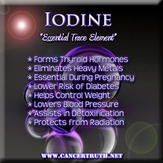 Iodine or Bromine?   Iodine is responsible for the production of almost every hormone in the body and is typically found in high levels in the thyroid, breasts, liver, lungs, heart, and adrenal glands. Iodine is essential during pregnancy. Iodine used to be added to baked goods in the USA, but was replaced with bromine back in the 1970's. As a direct result, today most Americans (96%) are iodine deficient  .