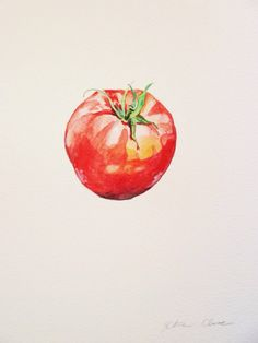 "Watercolor Original Painting, Tomato Still Life, 9""x12"""