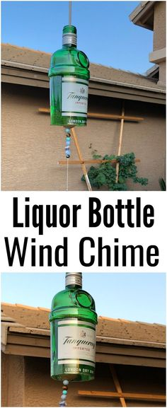 This liquor bottle wind chime transforms a liquor bottle into a beautiful, soothing wind chime that you can display in your home or gift to family and friends.    #liquorbottle #upcycle #windchime #DIY #crafts #gift #handmade Old Liquor Bottles, Gin Bottles, Bottle Cutter, Bottom Of The Bottle, London Dry, Bring Them Home, Wet And Dry, Homemade Gifts, Beer Bottle