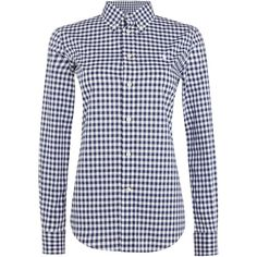 Polo Ralph Lauren Button down kendal long sleeve shirt ($105) ❤ liked on Polyvore featuring tops, navy stripe, women, navy blue shirt, striped shirt, navy blue button down shirt, navy striped shirt and long sleeve tops