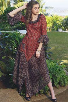 7bdfe4a4da3f Buy Red & Black Cotton Printed A line Salwar Online Asymmetrical Dress, Anarkali  Suits,