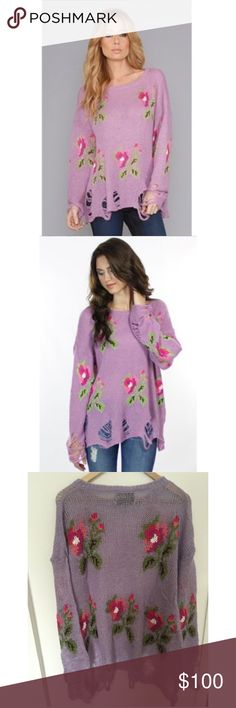 Wildfox Couture Little Edie Lennon Sweater Wildfox Couture Little Edie Lennon Sweater featuring the most coveted Wildfox sweater styles of all time. Yup, the Lennon is back rocking some flowers all over. Looks like you stole it from your grandma's attic, but it's got rips all over and destroyed detail. With the perfect amount of drape, it's slightly oversized for that oh so casual vibe. Dropped shoulder seams. Throw it on over a bodycon skirt and finish off with rosary necklaces. Wildfox…