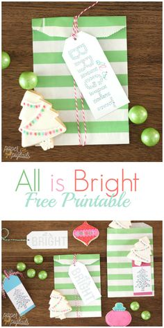 All is Bright Free Printable ChristmasTags. Print off these pretty hand painted watercolor gift tags. The perfect tag for a handsome Christmas gift!